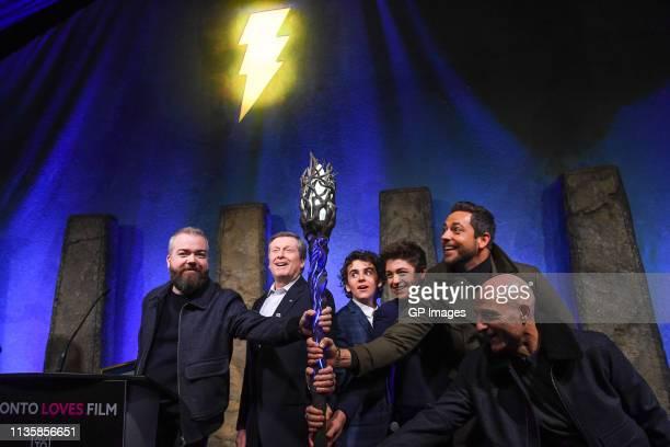 Director David F Sandberg Toronto Mayor John Tory Jack Dylan Grazer Asher Angel Zachary Levi and Mark Strong attend the unveiling of the Shazam World...
