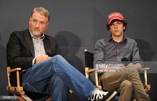 Director David Fincher and actor Jesse Eisenberg visit the Apple Store Soho on September 23 2010 in New York City