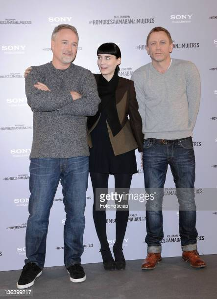 Director David Fincher Rooney Mara and Daniel Craig attend a photocall for 'Millenium Los Hombres Que No Amaban a las Mujeres' at the Villamagna...
