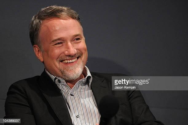 Director David Fincher visits the Apple Store Soho on September 23 2010 in New York City