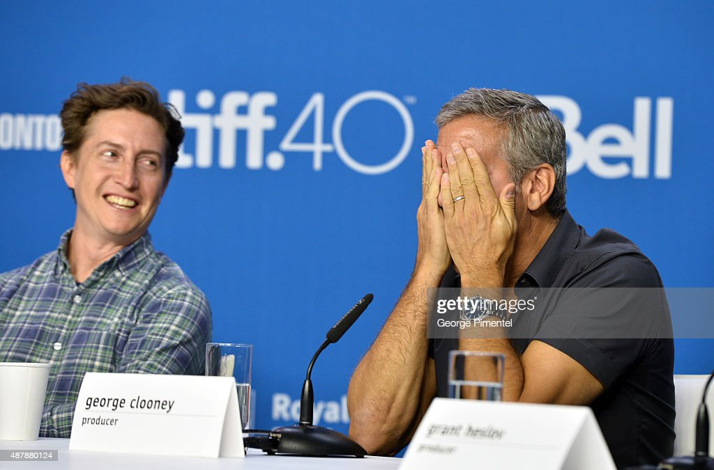 Director David Gordon Green (L) and producer George Clooney speak onstage during the 'Our Brand Is Crisis' press conference at the 2015 Toronto International Film Festival at TIFF Bell Lightbox on September 12, 2015 in Toronto, Canada.