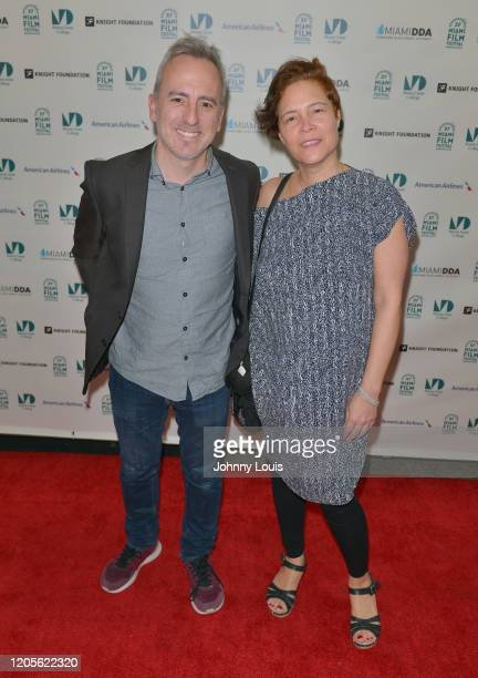 Director David Ilundain and actress Katalina Viteri from feature film 'One for All' are seen during 37th Annual Miami Film Festival presented by...