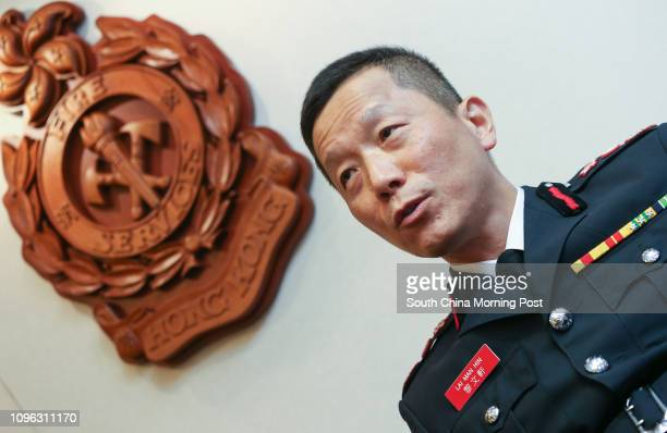 Director David Lai Manhin speaks during a media teagathering to farewell Lai at Fire Services Headquarters in Tsim Sha Tsui 10AUG16 SCMP / K Y Cheng