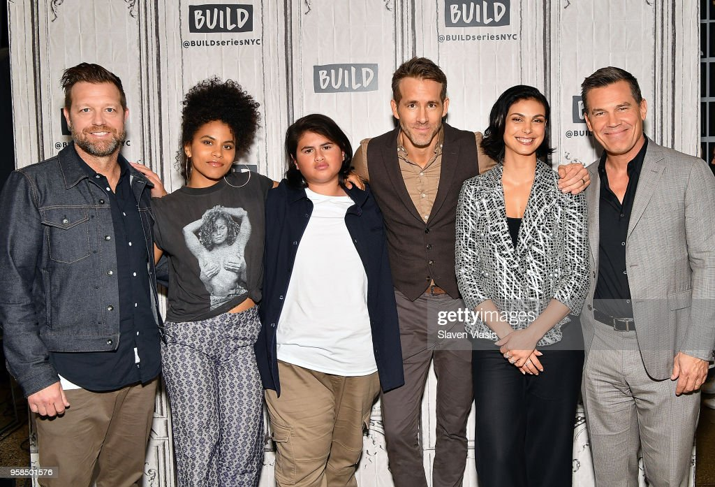 Director David Leitch, cast members Zazie Beetz, Julian Dennison, Ryan Reynolds, Morena Baccarin and Josh Brolin visit Build Series to discuss 'Deadpool 2' at Build Studio on May 14, 2018 in New York City.