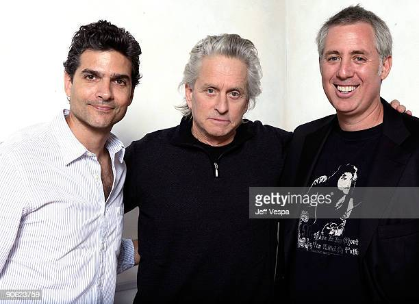Director David Levien actor Michael Douglas and director Brian Koppelman pose for a portrait during the 2009 Toronto International Film Festival held...