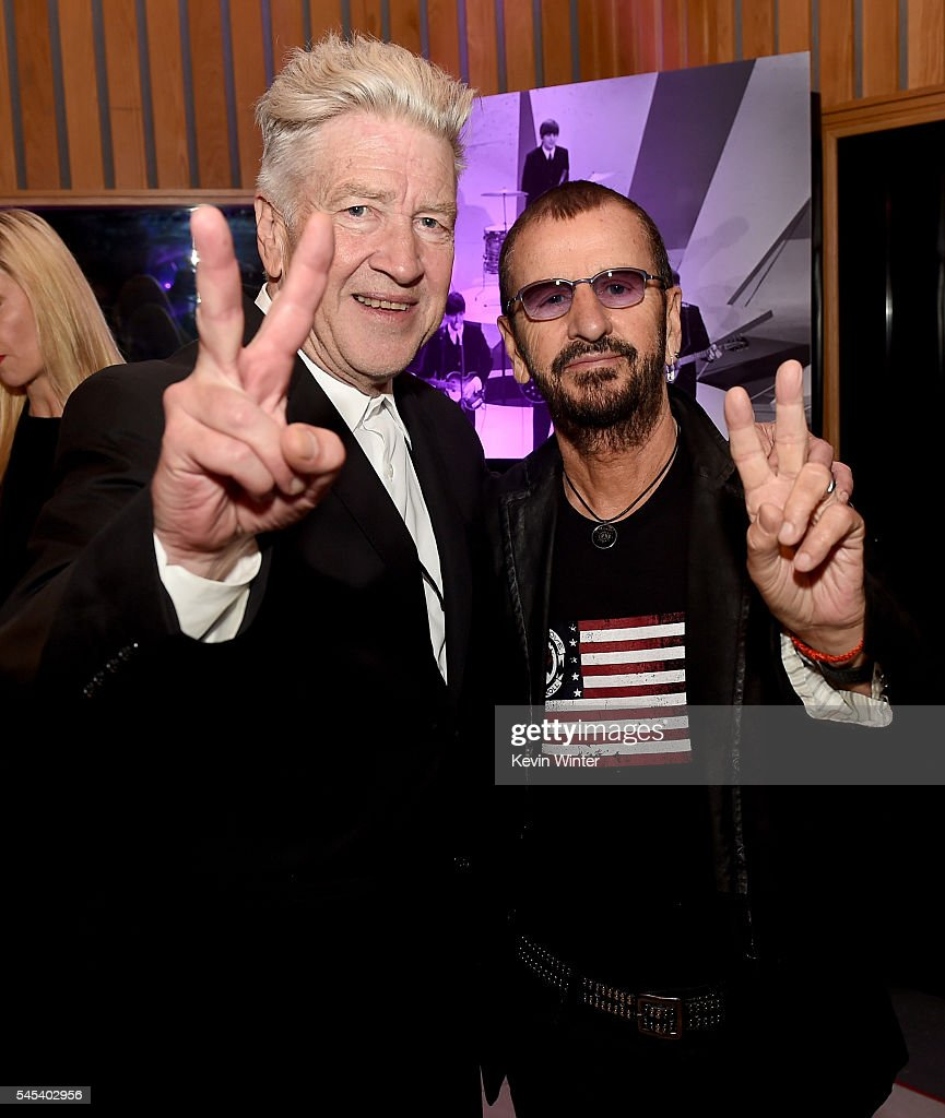 Director David Lynch L And Musician Ringo Starr Appear At Starrs Peace