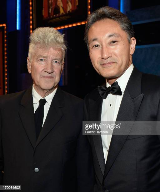 Director David Lynch and Sony President Kazuo Hirai attend the 41st AFI Life Achievement Award Honoring Mel Brooks at Dolby Theatre on June 6 2013 in...