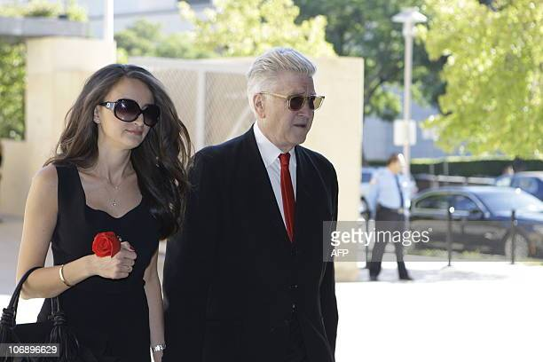 Director David Lynch and wife arrive for the funeral of Italianborn film producer Dino De Laurentiis at the Cathedral of Our Lady of the Angels on...