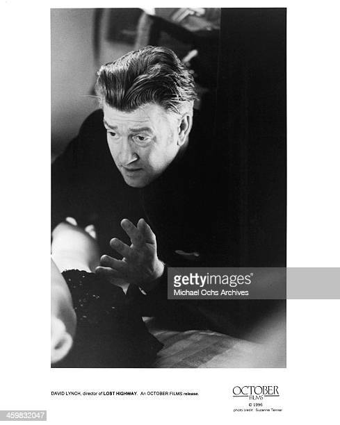 """Director David Lynch on set of the October films movie """"Lost Highway """" circa 1997."""