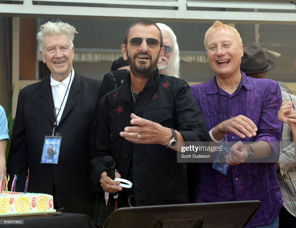 Director David Lynch, Ringo Starr and Gregg Bissonette celebrate Ringo's 77th birthday with friends and fans at the annual 'Peace & Love' celebration at Capitol Records Tower on July 7, 2017 in Los Angeles, California.