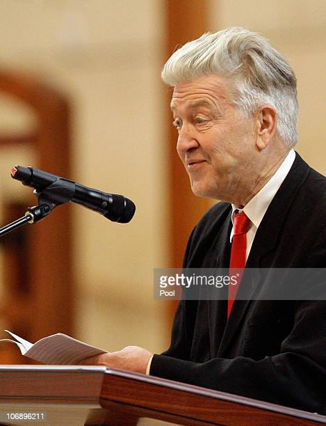 Director David Lynch speaks at the funeral Mass for Italian film mogul and Hollywood producer Dino De Laurentiis at the Cathedral of Our Lady of the...
