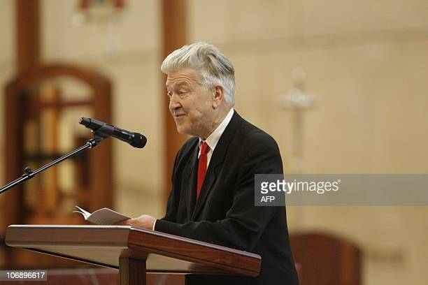 Director David Lynch speaks during the funeral for Italianborn film producer Dino De Laurentiis at the Cathedral of Our Lady of the Angels on...