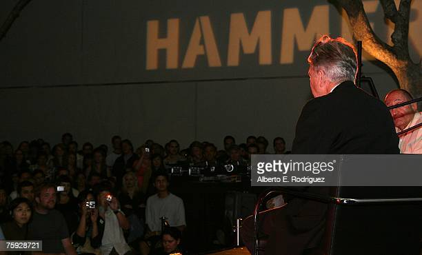 Director David Lynch talks to guests during BIG TIME with David Lynch at the Hammer Museum on August 1 2007 in Westwood California