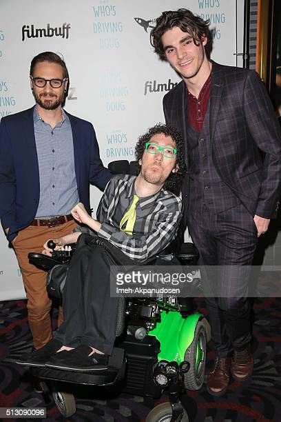 Director David Michael Conley writer Michael Carnick and actor RJ Mitte attend the premiere of FilmBuff's 'Who's Driving Doug' at Los Feliz 3 Cinemas...
