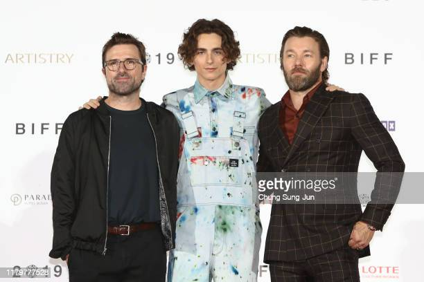 Director David Michod, actor Timothee Chalamet and Joel Edgerton attend the photo call at the red carpet for the 'The King' at the Busan Cinema...