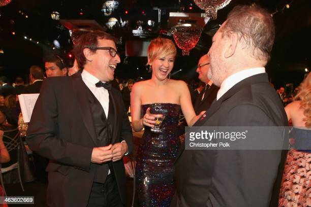 Director David O Russell actress Jennifer Lawrence and producer Harvey Weinstein attend the 20th Annual Screen Actors Guild Awards at The Shrine...