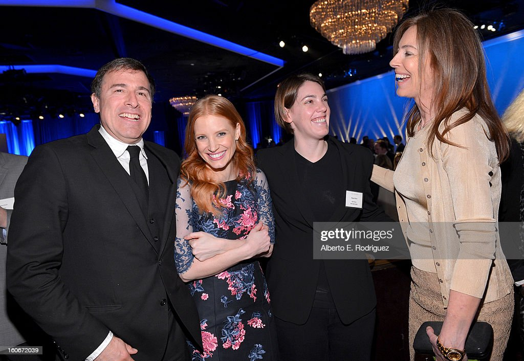 Director David O. Russell, actress Jessica Chastain, Producer Megan Ellison and Director Kathryn Bigelow attend the 85th Academy Awards Nominations Luncheon at The Beverly Hilton Hotel on February 4, 2013 in Beverly Hills, California.
