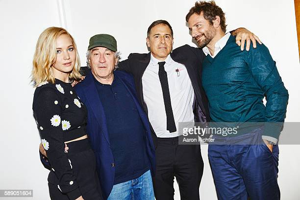Director David O Russell and actors Bradley Cooper Jennifer Lawrence and Robert De Niro are photographed for the New York Times in December 2015 in...