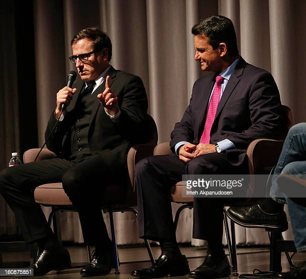 Director David O Russell and Dr Bruce Hensel attend the Museum Of Tolerance Town Hall Meeting during 'The Stigma of Mental Illness The Silver Linings...