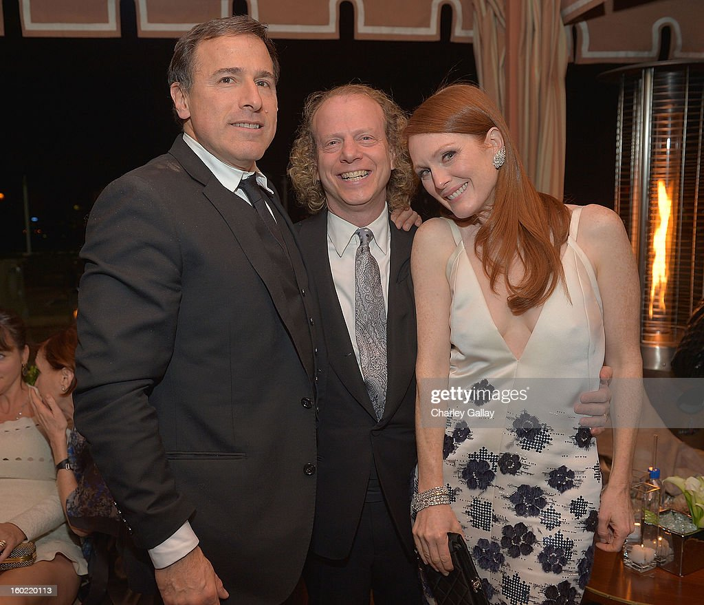 Director David O. Russell, producer Bruce Cohen and actress Julianne Moore attend The Weinstein Company's SAG Awards After Party Presented By FIJI Water at Sunset Tower on January 27, 2013 in West Hollywood, California.