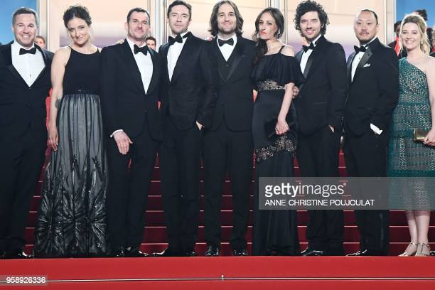 US director David Robert Mitchell poses with his wife Annie Mitchell US actor Topher Grace US producer Chris Bender and US producer Jake Weiner as...