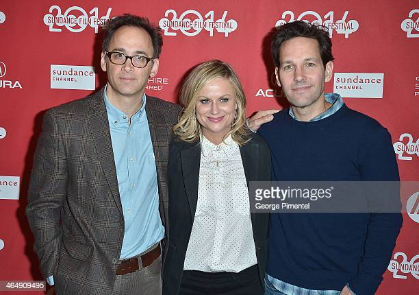 Director David Wain and actors Amy Poehler and Paul Rudd attend the 'They Came Together' premiere at Eccles Center Theatre during the 2014 Sundance...
