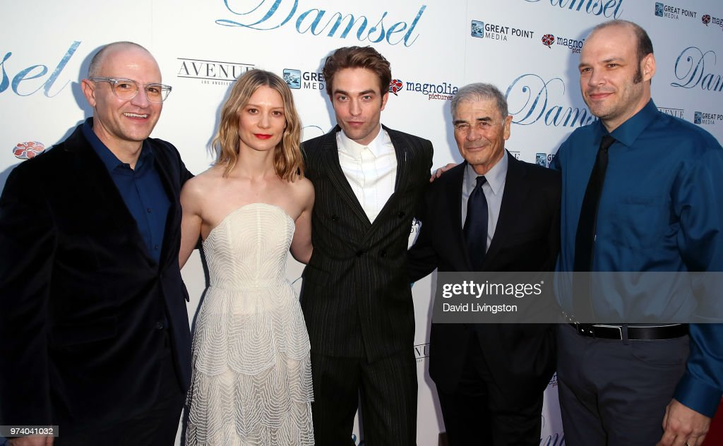 Director David Zellner, actors Mia Wasikowska, Robert Pattinson and Robert Forster and director Nathan Zellner attend Magnolia Pictures' 'Damsel' premiere at ArcLight Hollywood on June 13, 2018 in Hollywood, California.