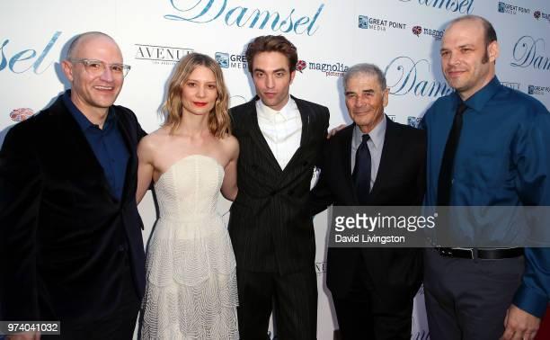Director David Zellner actors Mia Wasikowska Robert Pattinson and Robert Forster and director Nathan Zellner attend Magnolia Pictures' 'Damsel'...