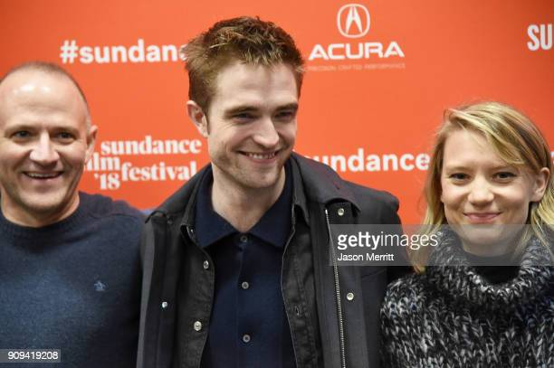 Director David Zellner and actors Robert Pattinson and Mia Wasikowska attend the 'Damsel' Premiere during the 2018 Sundance Film Festival at Eccles...