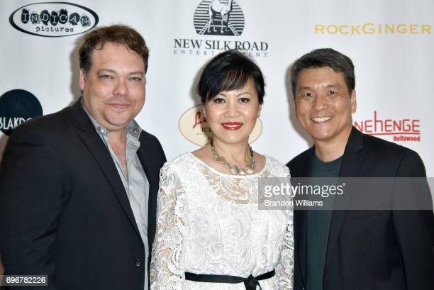 Director Dax Phelan actor Linda Liu and producer James Su attend the theatrical release of Indican Pictures' Jasmine at Laemmle Monica Film Center on...