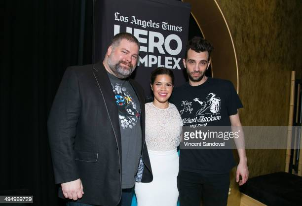 Director Dean DeBlois actress America Ferrera and actor Jay Baruchel attend LA Times Hero Complex Film Festival How To Train Your Dragon 2 screening...