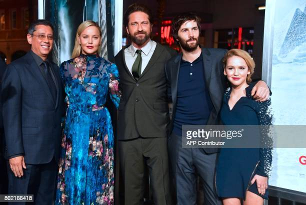 Director Dean Devlin actresses Abbie Cornish actor Gerard Butler Jim Sturgess and Talitha Bateman arrive for the World Premiere of the film...