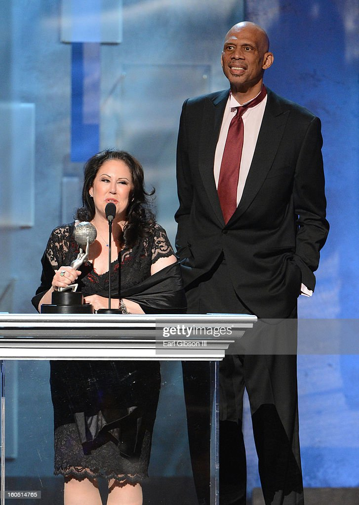 Director Deborah Morales and author Kareem Abdul-Jabbar speak onstage at the 44th NAACP Image Awards at The Shrine Auditorium on February 1, 2013 in Los Angeles, California.