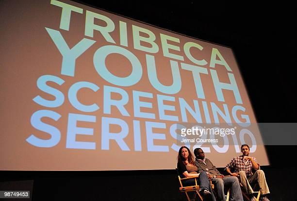 Director Deborah Scranton fixer Jean Pierre Sagahutu and producer Reid Reid Carolin speak at the Film Fellows Press Conference during the 2010...