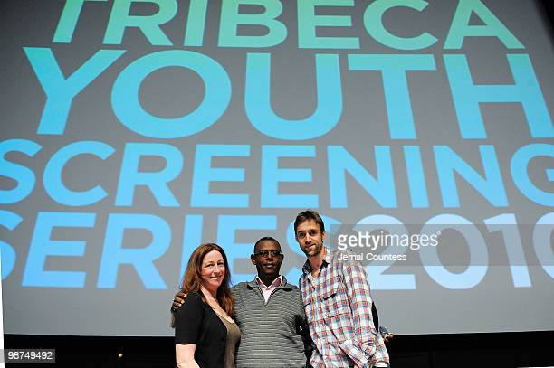 Director Deborah Scranton fixer Jean Pierre Sagahutu and producer Reid Reid Carolin attend the Film Fellows Press Conference during the 2010 Tribeca...