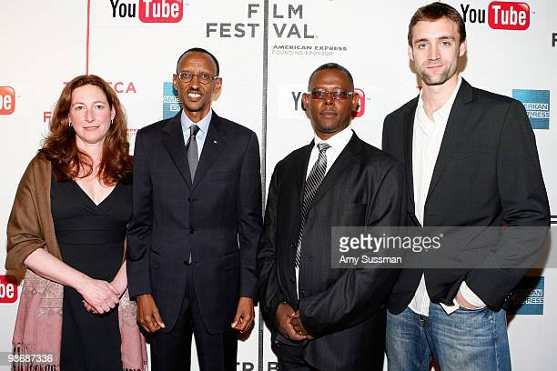 Director Deborah Scranton, Rwandan President Paul Kagame, documentry subject Jean Pierre Sagahutu and producer Reid Carolin attend the premiere Of...