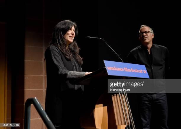"Director Debra Granik and Sundance Film Festival Director John Cooper speak onstage at the ""Leave No Trace"" Premiere during the 2018 Sundance Film..."
