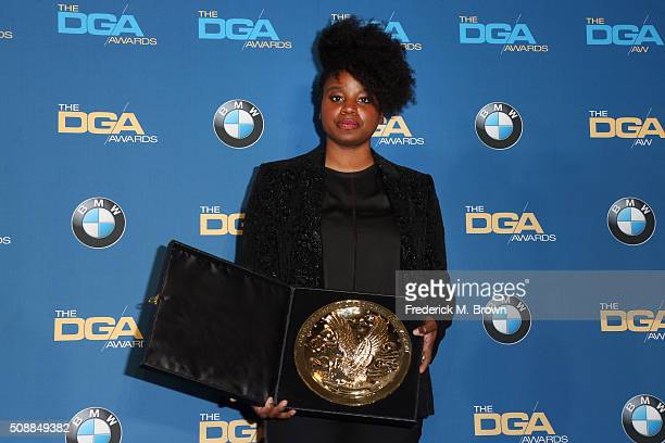 Director Dee Rees winner of the award for Outstanding Directorial Achievement in Movies for Television and MiniSeries for Bessie poses in the press...
