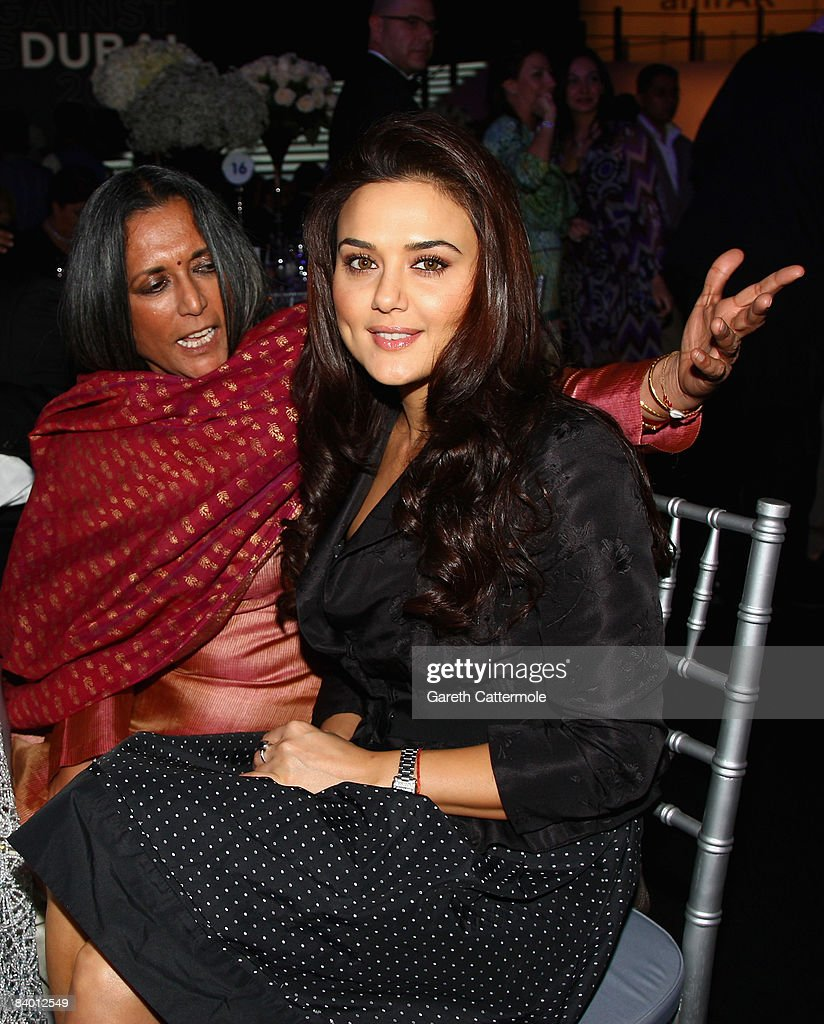 Director Deepa Mehta and actress Preity Zinta during The 2nd Annual amfAR Cinema Against AIDS Dubai Gala held at the Atlantis The Palm Hotel during...
