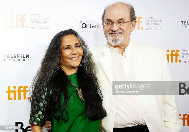 """Director Deepa Mehta and writer Salman Rushdie arrive at the """"Midnight's Children"""" Premiere at the 2012 Toronto International Film Festival at Roy..."""