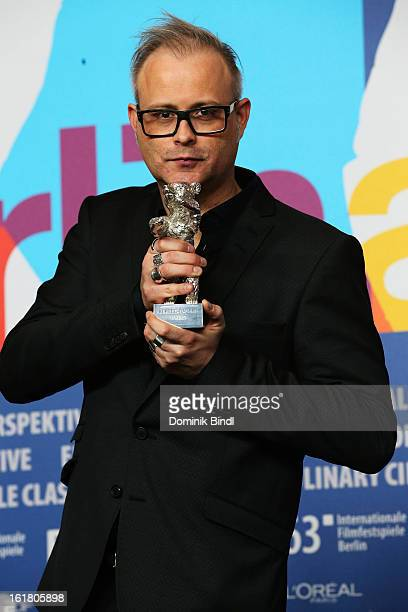 Director Denis Cote with the 'AlfredBauerReis' award at the Award Winners Press Conference during the 63rd Berlinale International Film Festival at...