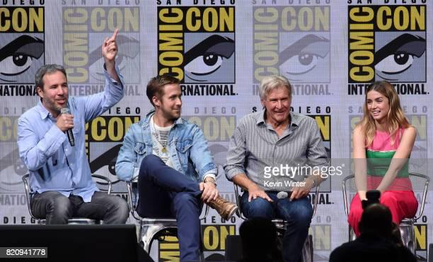 Director Denis Villeneuve actors Ryan Gosling Harrison Ford and Ana de Armas attend the Warner Bros Pictures 'Blade Runner 2049' Presentation during...