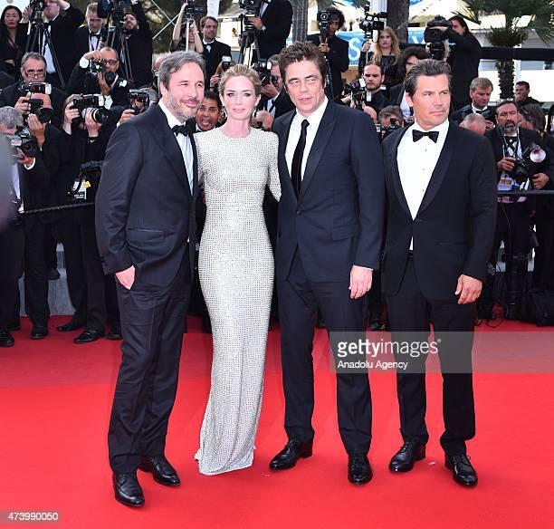 Director Denis Villeneuve actress Emily Blunt actor Benicio Del Toro and actor Josh Brolin arrive for the screening of the film Sicario at the 68th...