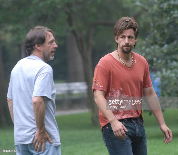 """Director Dennis Dugan and Adam Sandler on location for """"You Don't Mess With The Zohan"""" at The Great Lawn in Central Park, New York August 6 2007"""