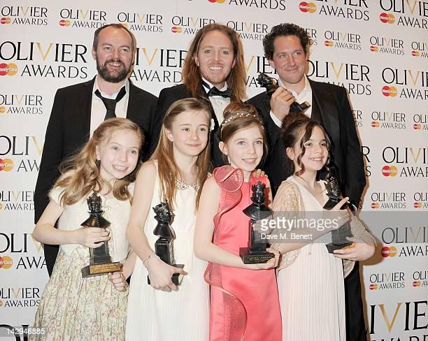 Director Dennis Kelly Tim Minchin Best Actor winner Bertie Carvel Best Actress winners Sophia Kiely Eleanor Worthington Cox Kerry Ingram and Cleo...