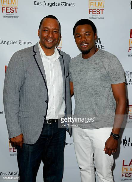 Director Deon Taylor and actor Derek Luke attend the Supremacy premiere during the 2014 Los Angeles Film Festival at Regal Cinemas LA Live on June 12...