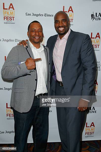 Director Deon Taylor and producer Ephraim Salaam attend the Supremacy premiere during the 2014 Los Angeles Film Festival at Regal Cinemas LA Live on...