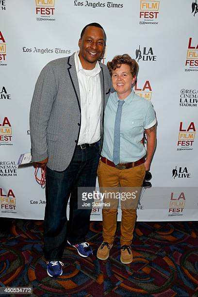 Director Deon Taylor and producer Steak House attend the Supremacy premiere during the 2014 Los Angeles Film Festival at Regal Cinemas LA Live on...