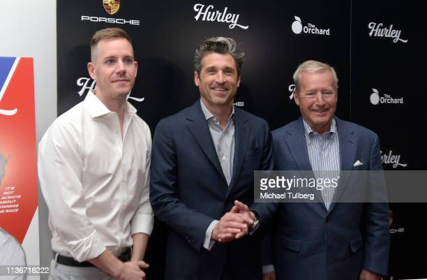 """Director Derek Dodge, executive producer Patrick Dempsey and former race car driver Hurley Haywood attend the Los Angeles premiere of """"Hurley""""..."""