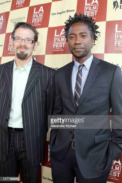 Director Deron Albright and actor/writer Yao B Nunoo arrive at the 2011 Los Angeles Film Festival opening night premiere of Bernie held at Regal...